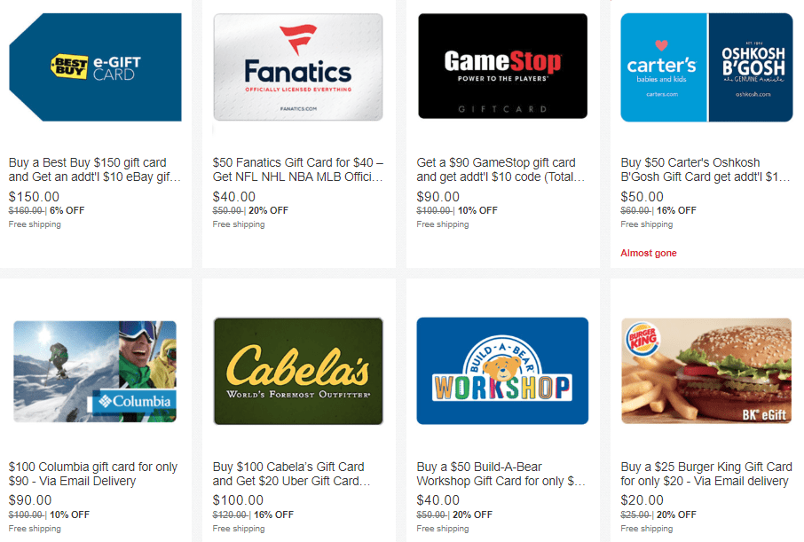Discounted Gift Cards on eBay: Best Buy, GameStop and More